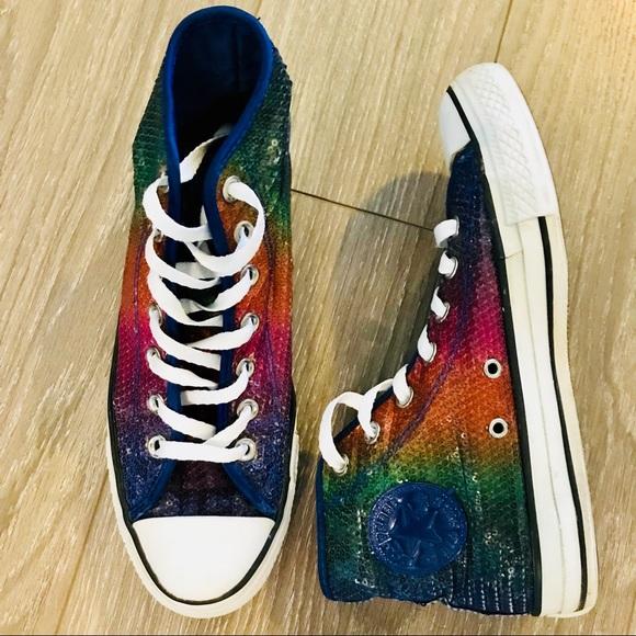 3e35eb74bc1 Converse Shoes - Converse Chuck Taylor Rainbow Sequin High Top Shoe